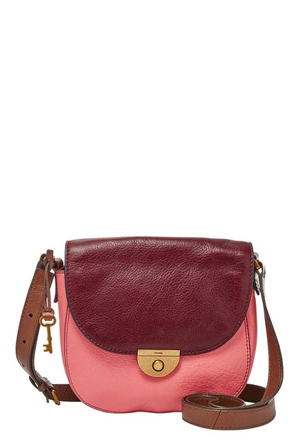 Fossil Emi Rose Pink & Maroon Leather Flap Sling Bag