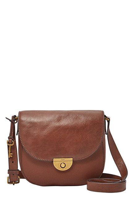 Fossil Emi Brown Leather Flap Sling Bag