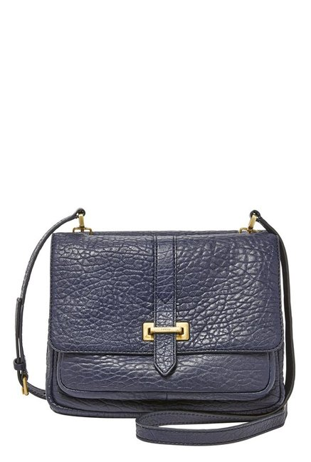 Fossil Navy Textured Leather Flap Sling Bag