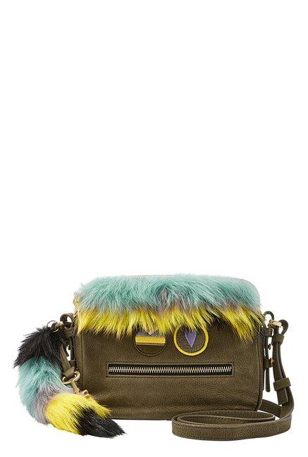 Fossil Olive Green Fur Leather Sling Bag