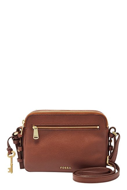 Fossil Piper Brown Leather Sling Bag