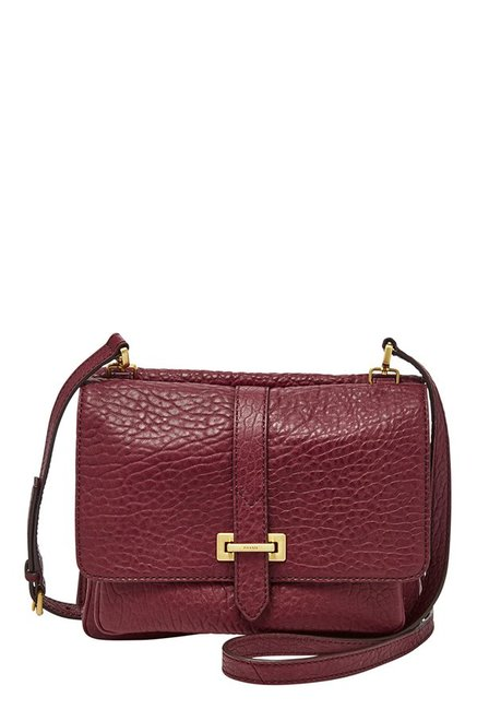 Fossil Wine Textured Leather Flap Sling Bag