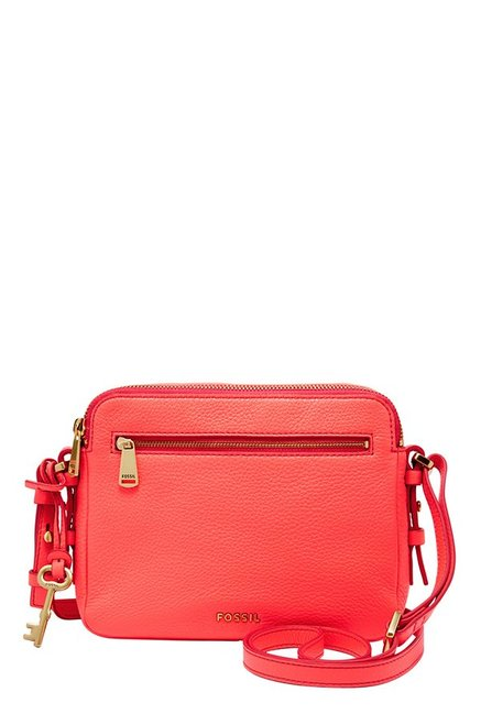 Fossil Piper Neon Coral Leather Sling Bag