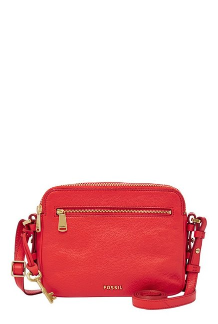 Fossil Piper Tomato Red Leather Sling Bag