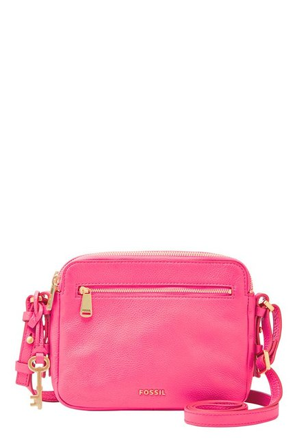 Fossil Piper Neon Pink Leather Sling Bag