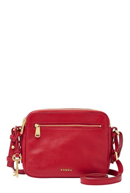Fossil Piper Crimson Red Leather Sling Bag