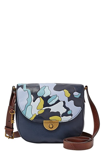 Buy Fossil Navy   White Printed Leather Flap Sling Bag For Women At ... bb115865d1b61