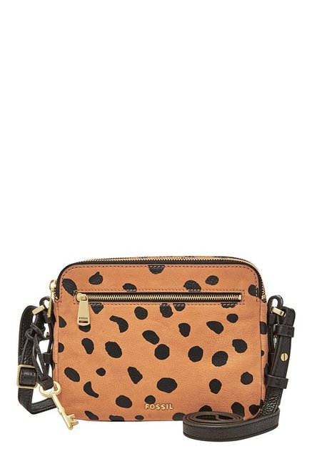 Fossil Piper Tan & Black Printed Leather Sling Bag