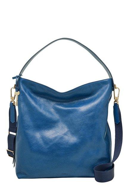 Fossil Marine Blue Solid Leather Shoulder Bag
