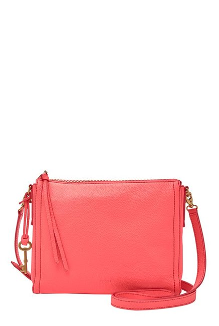Fossil Neon Coral Solid Leather Sling Bag