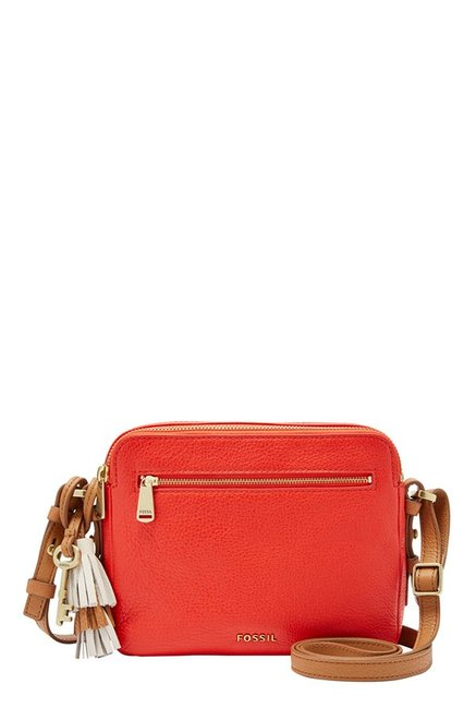 Fossil Piper Pepper Red Solid Leather Sling Bag