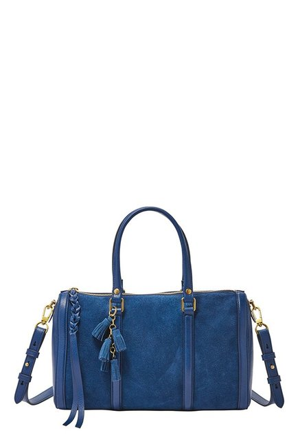 Fossil Marine Blue Paneled Leather Duffle Handbag