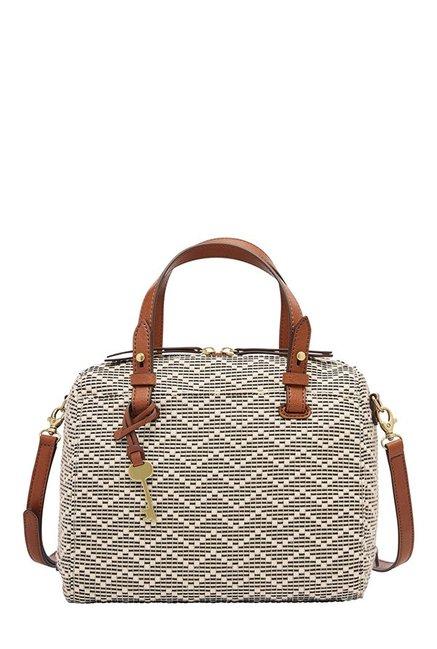 Fossil Rachel White Stitched Leather Bowler Handbag