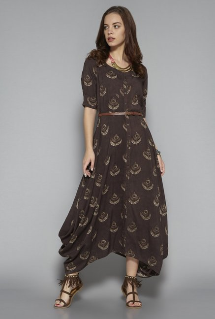 73786bcd2861 Buy Bombay Paisley by Westside Brown Dress with Belt for Women Online    Tata CLiQ