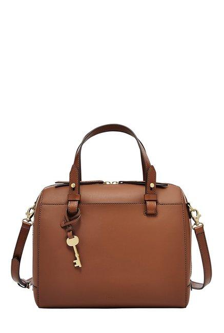 Fossil Rachel Brown Solid Leather Bowler Handbag