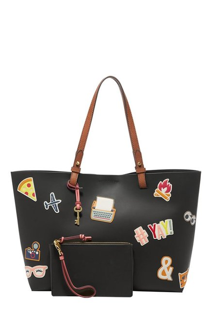 Fossil Rachel Black Applique Leather Tote with Pouch