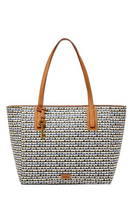 Fossil White Printed Leather Tote