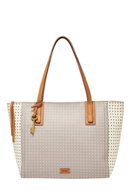 Fossil Emma Grey Printed Leather Tote