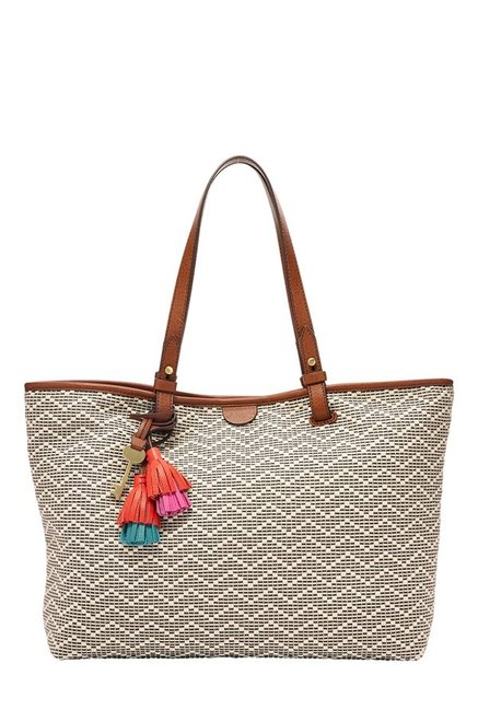 Fossil Rachel White Stitched Leather Laptop Tote