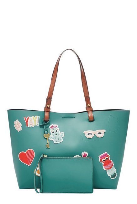 Fossil Rachel Teal Green Applique Leather Tote with Pouch