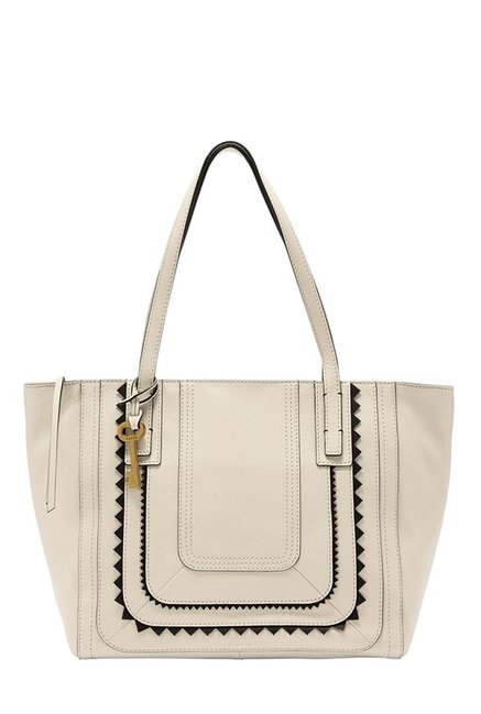 Fossil Emma Vanilla Textured Leather Tote