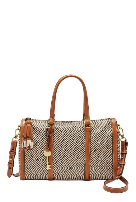 Fossil Kendall Cream Stitched Leather Duffle Handbag