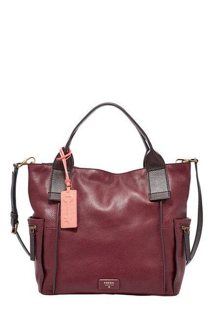 Fossil Emerson Wine Paneled Leather Shoulder Bag