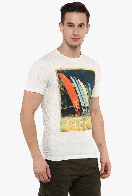 celio* Ecru Short Sleeves Printed T-Shirt