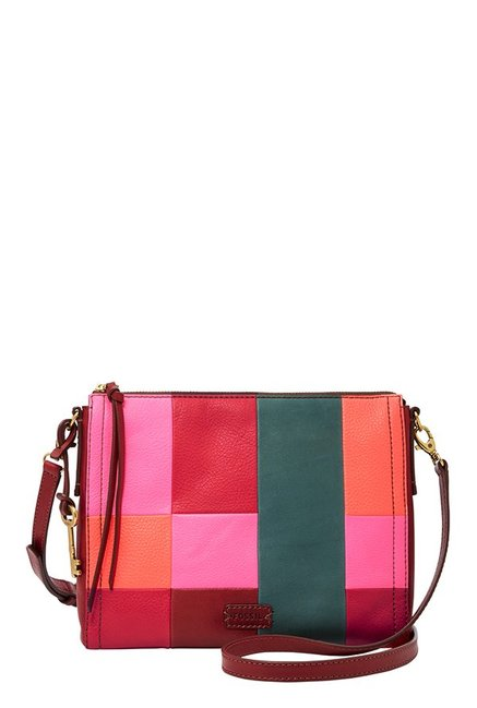 Fossil Emma Red Color Block Leather Sling Bag