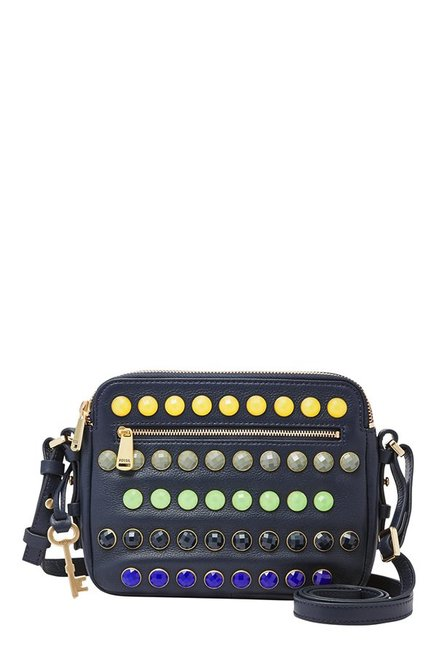 Fossil Piper Midnight Navy Embellished Leather Sling Bag