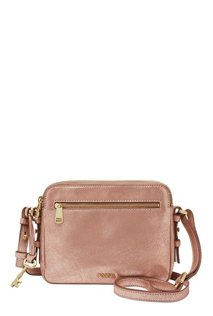 Fossil Rose Gold Solid Leather Sling Bag
