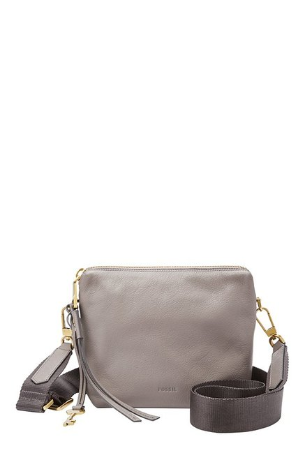 Fossil Grey Solid Leather Sling Bag
