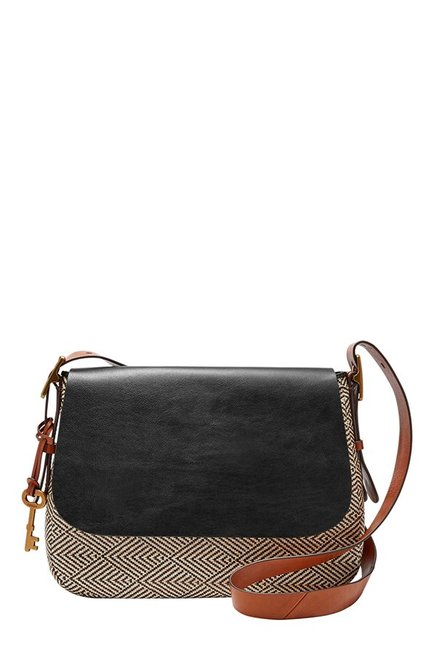 Fossil Cream Stitched Leather Flap Sling Bag