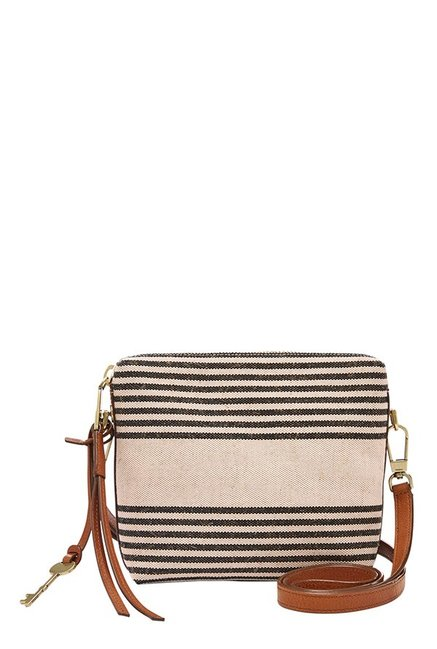 Fossil Maya Off-White Striped Leather Sling Bag