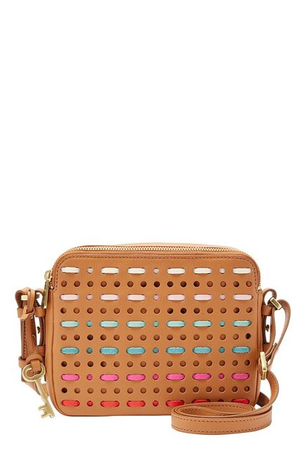 Fossil Tan Cut Work Leather Sling Bag