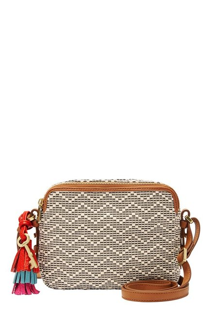 Fossil Piper Off-White Stitched Leather Sling Bag