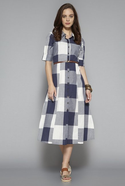 e2a6de9ebdf13 Buy Bombay Paisley by Westside Dark Navy Dress with Belt for ...