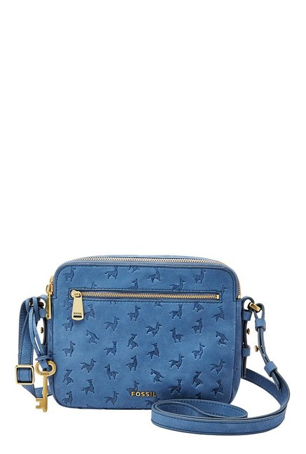 Fossil Cornflower Blue Embossed Leather Sling Bag