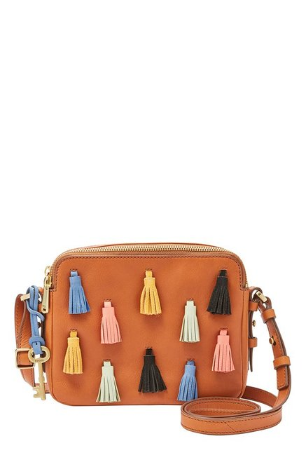 Fossil Tan Solid Leather Sling Bag