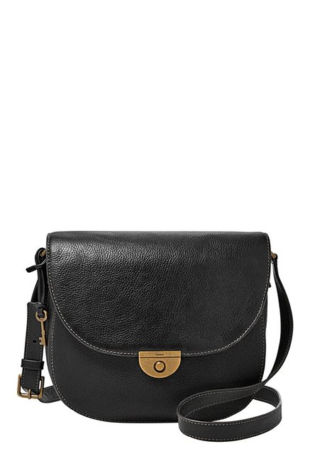 Fossil Emi Black Solid Leather Saddle Sling Bag
