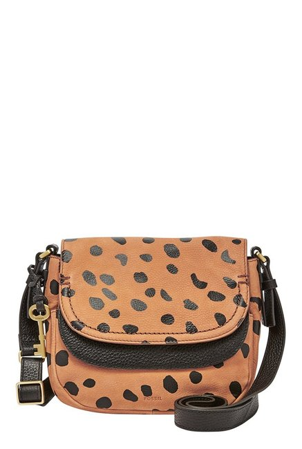 Fossil Peyton Tan Printed Leather Flap Sling Bag