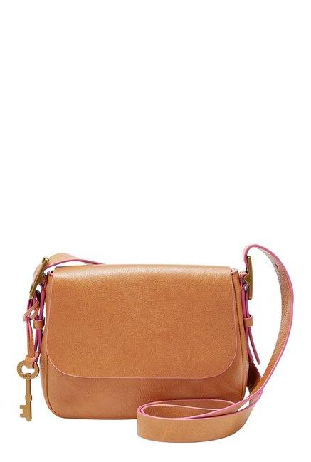 Fossil Harper Tan Solid Leather Flap Sling Bag