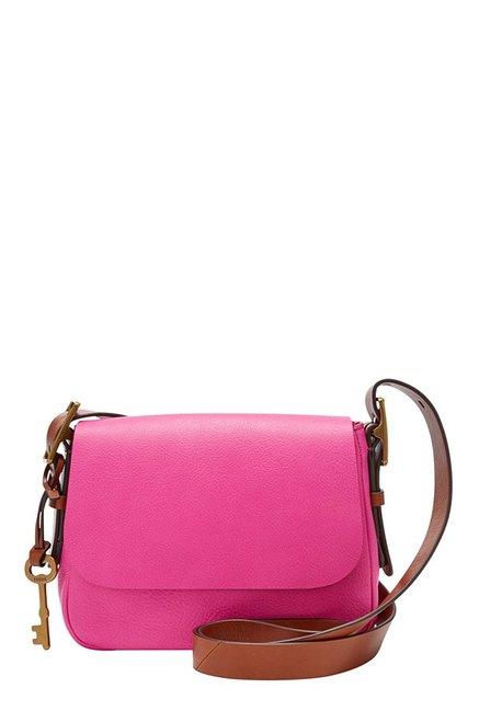 Fossil Harper Hot Pink Solid Leather Flap Sling Bag