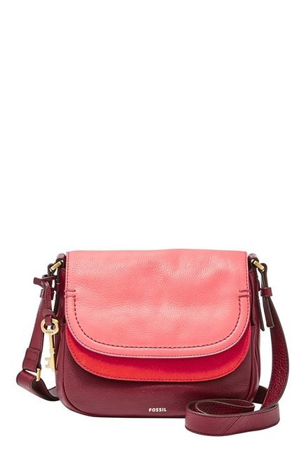 Fossil Maroon Solid Leather Flap Sling Bag