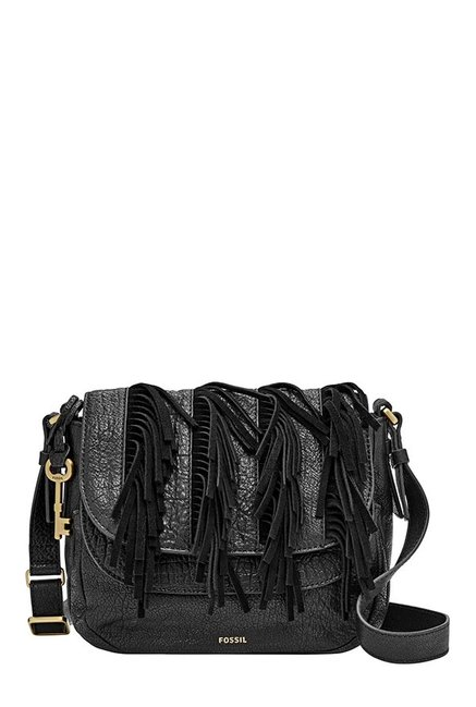Fossil Peyton Black Fringes Leather Flap Sling Bag