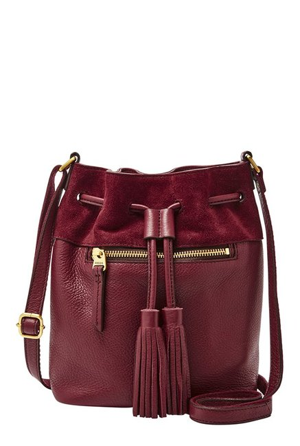 Fossil Wine Solid Leather Bucket Sling Bag