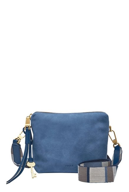 Fossil Cornflower Blue Solid Leather Sling Bag