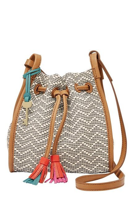 Fossil Claire White Stitched Leather Sling Bag