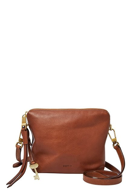 Fossil Brown Solid Leather Sling Bag