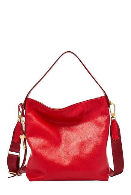 Fossil Maya Crimson Solid Leather Shoulder Bag